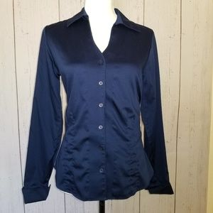 Coldwater Creek Navy Tailored Blouse